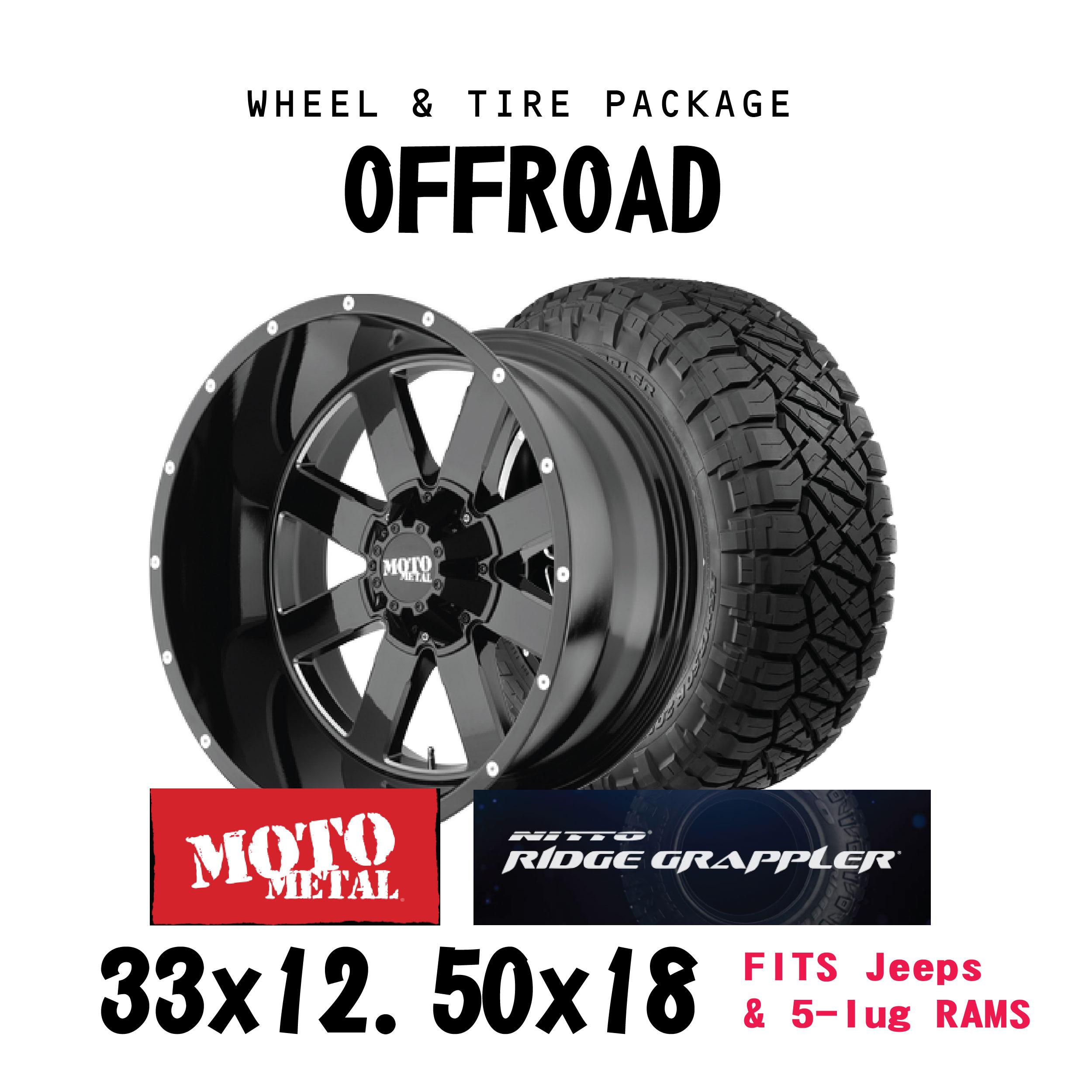 18x9 Wheel & Tire - Moto Metal - Off-road 5x127 / 5X139 ET 0 Black