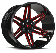 VISION OFF-ROAD - 363 RAZOR-gloss black milled spoke with red tint