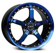 HD WHEELS - COOL DOWN-gloss black machined face w blue