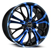 HD WHEELS - SPINOUT-gloss black machined face w blue