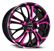 HD WHEELS - SPINOUT-gloss black machined face w pink