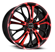 HD WHEELS - SPINOUT-gloss black machined face w red