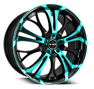 HD WHEELS - SPINOUT-gloss black machined face w teal